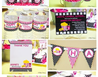 Movie Night Birthday Party Package...Custom, Printable DIY Package