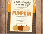 pumpkin baby shower invitation, fall baby shower invitation with chevron and polka dots, thanksgiving baby, digital, printable (item175)
