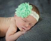 Vintage Mint Shabby Newborn Lace Headband Glitter Baby Headband Shabby Chic Photo Prop Lace Bow- Newborn, Infant, Baby, Toddler, Girl