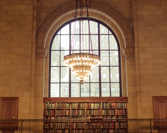 New York Public Library Architecture Photography New York City Art Print Chandelier Books New York City Home Decor NYC Wall Art