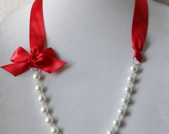 White Pearl and Red Ribbon Bow Necklace