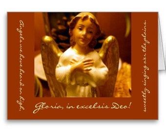 Angel Christmas Card - White angel, gold wings, Nativity scene, Angels We Have Heard on High, holiday card