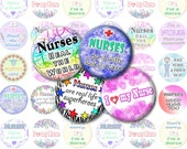 Nurse Printable 1-Inch Circles / Bottlecap Images / Nursing, Medical / for Badge Holders / Love, Care, Heart My Nurse / Digital Collage