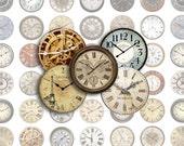 Clock Faces Bottlecap Images / Vintage Antique Clocks / Printable Bottle Cap Images 1-Inch Circles Digital Collage / Instant Download
