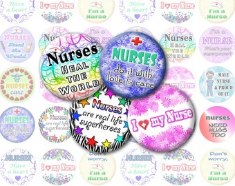 Nurse Bottlecap Images / Nursing, Medical Theme / for Badge Holders / Love, Care, Heart My Nurse / Printable Digital Collage 1-Inch Circles