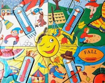 Vintage Puzzle - Seasons - Frame Tray - Built Rite - 1950's - Retro Toy Puzzle