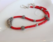 Coral Necklace, Coral Long Necklace, Coral Choker, Metal Necklace, Coral Pendant, Red Necklace