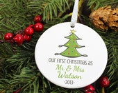 Personalized Newlywed Ornament - Christmas Tree - Personalized Porcelain Newlyweds Married Holiday Gift - orn168 - Custom Colors