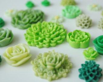 Mixed Cabochons 25pc Green Resin Flower Cabochon Mix, Mixed Resin Cabs, Jewelry Supplies Set, Flower Flat Backs