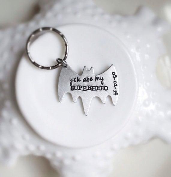 Superhero Keychain Valentines Gift Personalized Bat You Are My Be Your Own Superhero Date Wedding Anniversary Boyfriend Gift