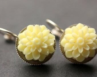 Ivory Dahlia Flower Earrings. French Hook Earrings. Ivory Flower Earrings. Lever Back Earrings. Handmade Jewelry.