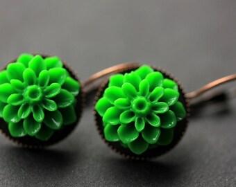 Green Dahlia Flower Earrings. French Hook Earrings. Green Flower Earrings. Lever Back Earrings. Handmade Jewelry.