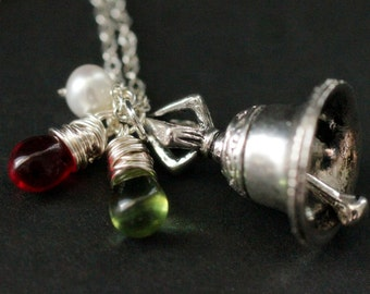 Christmas Bell Necklace. Holiday Jewelry. Silver Bell Necklace. Christmas Necklace with Red and Green Teardrops. Handmade Christmas Jewelry.