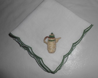 Hankerchief or a napkin for tea embroidered with teapots on very fine cotton