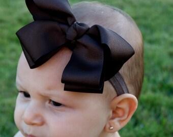 Baby Girl Headband Bow - Brown Headband - Baby Bow Headband