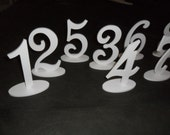 """Wooden 6""""  Script Table Numbers set 1-25 with 1/4""""  on Oval Base MDF / WOOD Painted White Black Silver Gold Plum Grey Yellow Red"""