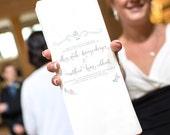 Wedding Ceremony Program, Printable File --  Calligraphy, Flowers Illustration, Blush Pink, Silver, Logo Banner