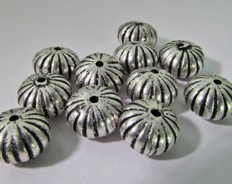 30 Vintage 9mm Round Antiqued Silver Plated Acrylic Melon Rondelle Beads Bd1415