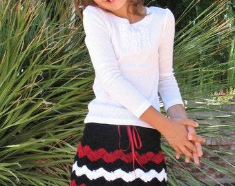 Crochet Pattern 073 - Crochet Striped Skirt - Julia  2, 4, 6, 8 years Toddler Children Girls Red Black Skirt Easter Christmas Striped Skirt