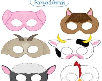 Barnyard Animals Printable Masks, printable party masks, farm animal mask, farm animals costume