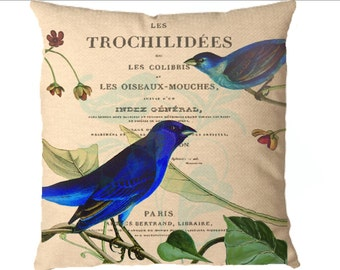 Create a Designer Pillow Paris ephemera Audubon bluebirds instant Digital download image for iron on fabric burlap transfer totebag No. C34