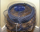 Vintage Navy Blue Halo Hat has Cute Pouf on top