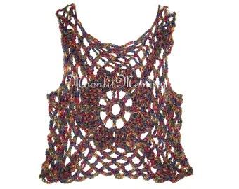 Crochet Sweater Top XL 1X Plus Size Vest Hand Crocheted Purple Yellow Pink