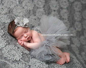 Gray Tutu Set Sweet Platinum Baby Couture Tutu Set Newborn Tutu With Matching Vintage Style Headband Stunning Newborn Photo Prop