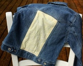 Girl's Jacket, Butter Yellow Jean Jacket, Upcycled, Salvage, Gap Kids, Yellow, Pale Yellow, Girls Small Jacket
