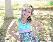 Aqua Petals Flutter Sleeve Dress - Easter Spring Dress