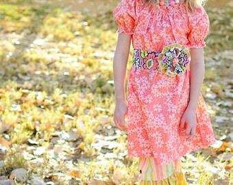 Apricot Peasant Dress