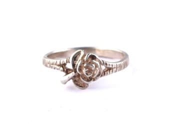 Sterling Silver Rose Ring  //  Size 8.5