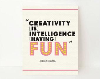 Albert Einstein, Science Teacher Gift, Inspirational Quote Print, Playroom Decor, Classroom Wall Art, Art Teacher Gift, Student Gifts, Nerdy