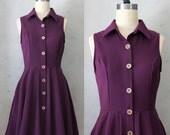 FINAL SALE / Mona Aubergine - Eggplant purple collar shirt dress / pockets / full pleated skirt / buttons / vintage inspired / day / retro