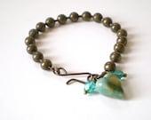 turquoise heart charm bracelet, simple charm bracelet, ball chain stacking bracelet, hipster bracelet, arm candy, gift for her