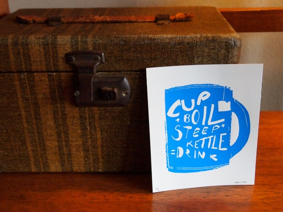 Tea Time Instructions - Hand Pulled Screen Print, Original Illustration