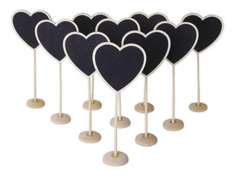 10 Heart Wooden Chalkboard Table Numbers - Weddings, Receptions, Banquets, Events