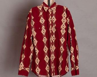 Western Cowboy Shirt -WRANGLER - southwest pattern - L