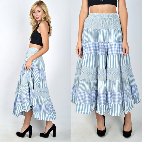 Vintage 80s Blue + White Tiered Skirt Pinstripe Patchwork Gingham Striped S M L 1824