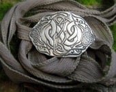 Celtic Knot Bracelet - Celtic Dragons - Artisan Handcrafted with Recycled Silver and Hand Dyed Silk