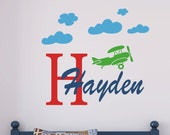 Boys Airplane Wall Decals - Name Wall Decal - Boys  Name Wall Decals - Baby Boy Nursery Plane vinyl Decal