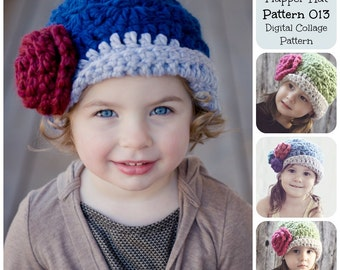 Crochet Hat Pattern, Childrens Shell Stitch Flapper Hat Pattern 013, Childrens Hat Pattern, Baby Hat Pattern