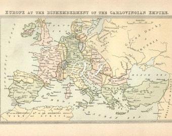 Antique 1890 EUROPE MAP End of Carlovingian Empire atlas chart engraving illustration ephemera print bookplate b/w 100 years old wall decor
