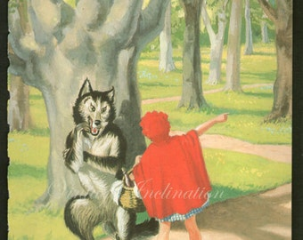 Antique print RED RIDING HOOD 3 rhyme 1950s illustration nursery decor baby shower gift baby red