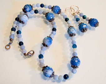 Blue Fire And Smokey Baby Blue Agate with Blue Jasper Beads Neckace and Earrings Handmade
