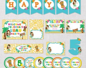 Luau Invitation -Luau Birthday Party Package -Luau Pool Party -Hawaiian Themed- Hula Dancer Invitation - Hawaiian Invitation- Printable, DIY