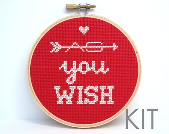 As You Wish | DIY cross stitch kit | Princess Bride quote