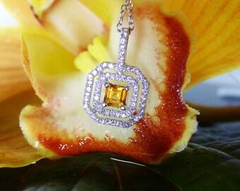 Garnet Pendant Sterling Silver, Garnet Pendant, January Birthstone Jewelry, Rare Yellow Garnet, Grossular Garnet, Gift For Her