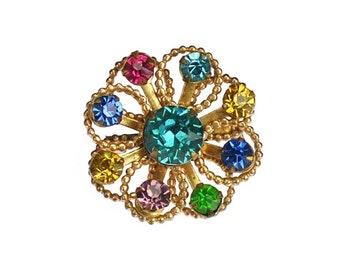 Vintage Multicolor Rhinestone Brooch Pin Gold Tone Pretty Crystals