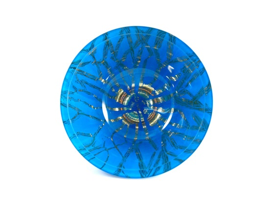 Gold and Blue Glass Bowl, 23-Karat Gilded Gold Leaf & Hand Painted Blue Bowl Titled Jellyfish, Verre Eglomisé, Reverse Gilded and Painted